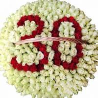 Огромная корзина 301 крупная роза, букет с цифрой R314