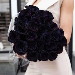 Букет 21 черная крупная роза R820