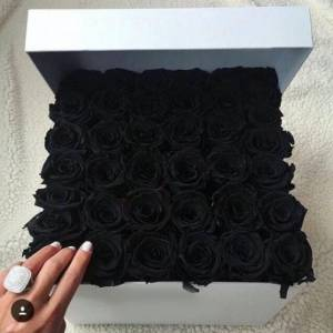 39 черных роз в квадратной коробке R824